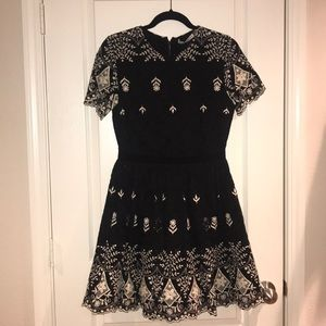 Alice+Olivia black and white lace cocktail dress